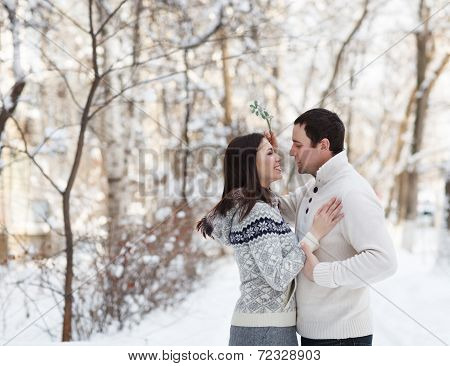 Happy Young Couple Under Mistletoe Having Fun