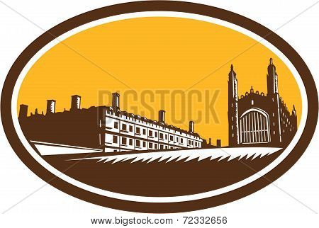 King's College University Of Cambridge Woodcut
