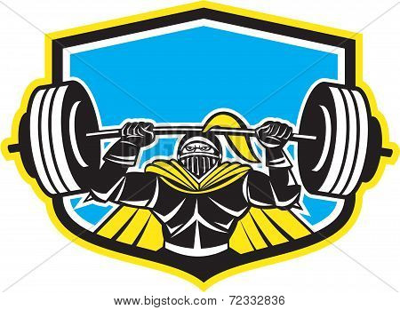 Black Knight Lifting Barbell Front Shield Retro