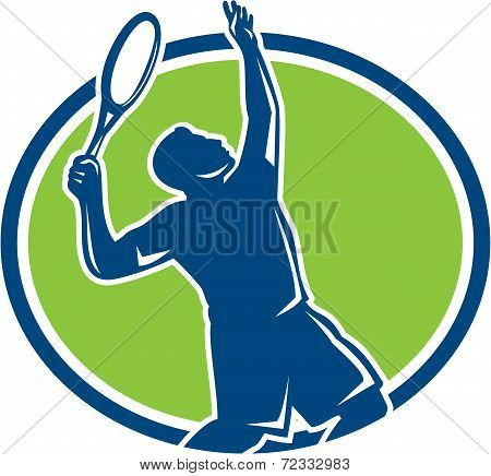Tennis Player Racquet Serving Oval Retro