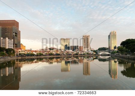 Singapore Boat Quay Skyline At Morning