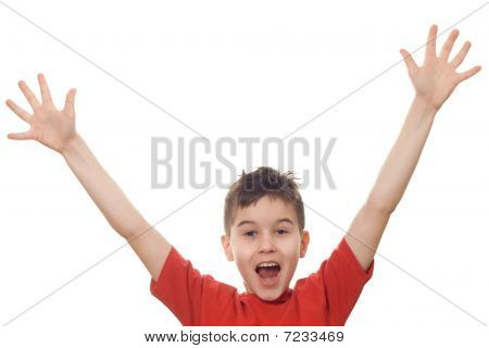 Boy With His Arms In The Air