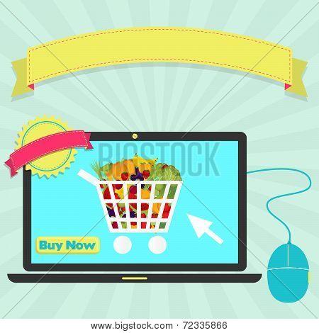 Buy-vegetables-online-through-laptop