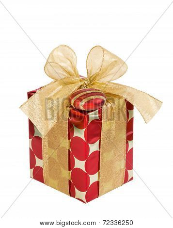 Red And Golden Christmas Gift Box