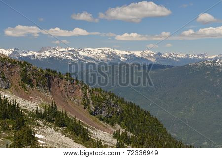 View of the rugged mountain scenery around Whistler.