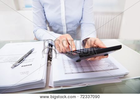 Businessperson Checking An Invoice In Office