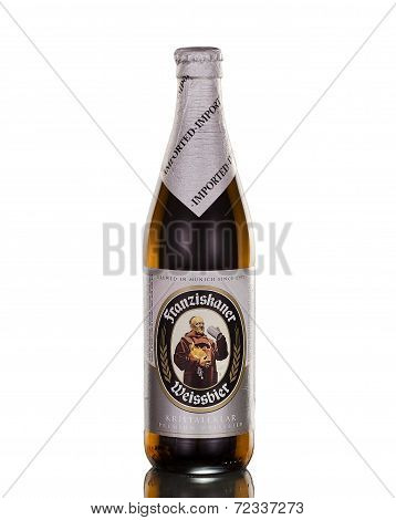 Bottle of wheat beer Franziskaner Weissbier Kristallklar