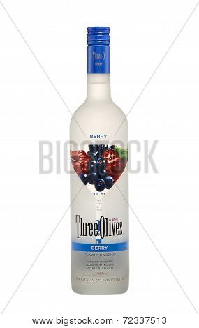 Bottle Of Three Olives Berry Vodka