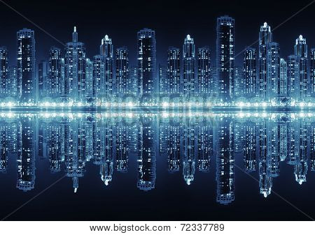 Seamless Modern City Skyline At Hight With Illuminated Skyscrapers
