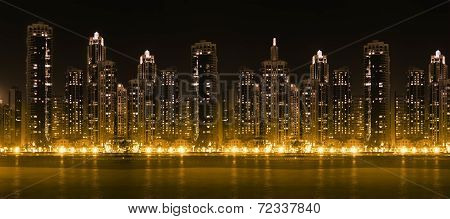 Modern City Skyline At Hight With Illuminated Skyscrapers