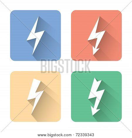 Flat Lightning Icons. Vector Illustration
