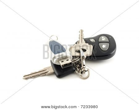 USB drive and key from car