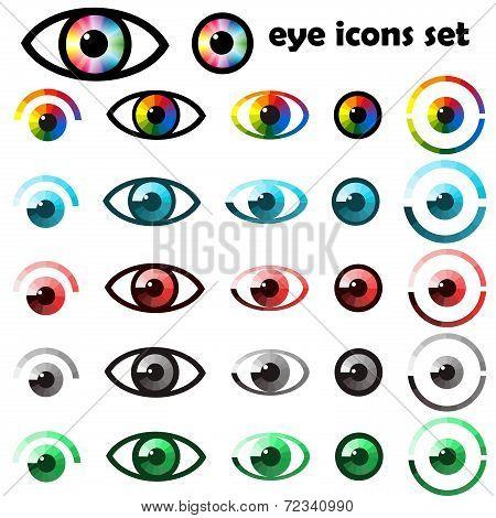 Set Of Eyes Icons And Symbols