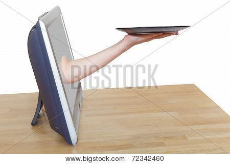 Female Arm With Empty Black Plate Leans Out Tv