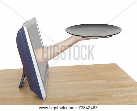 Female Palm With Empty Black Plate Leans Out Tv