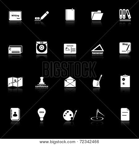 Writing Related Icons With Reflect On Black Background