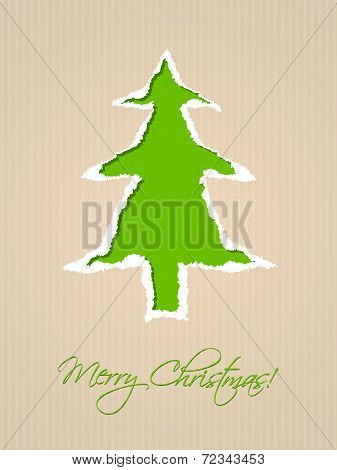 Ripped Paper Christmas Card Design In Green