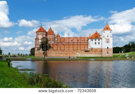 Belarus, Grodno Region. Mir Castle, View From The Lake