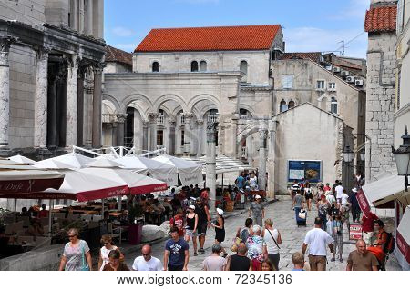Tourists Visiting City Of Split, Croatia