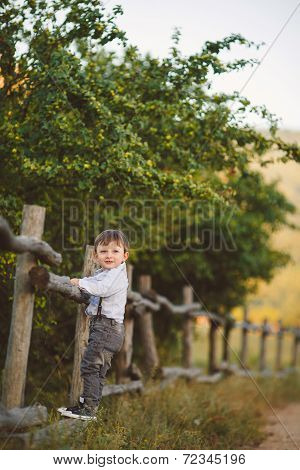 baby boy in the autumn park