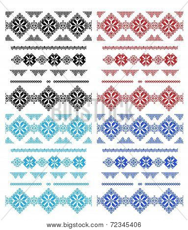 Set of lace patterns isolated over white