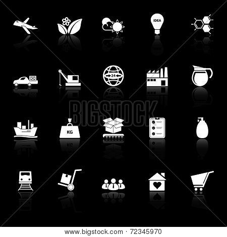 Supply Chain And Logistic Icons With Reflect On Black Background