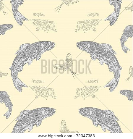 Seamless  Texture Leaping Salmon Vintage Engraving  Vector