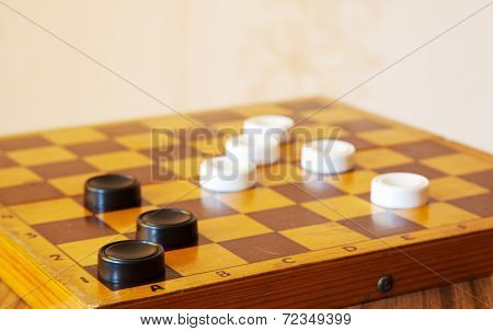 Black And White Checkers On A Chess Board