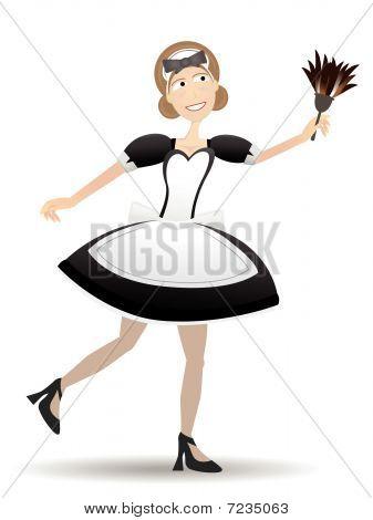 Cartoon Maid Holding Duster Vector Illustration