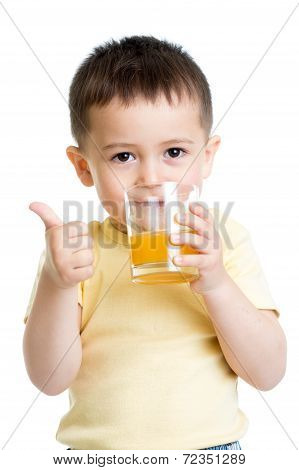Child Boy Drinking Juice  And Showing Thumb Up