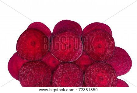 Close up of beetroot slices.