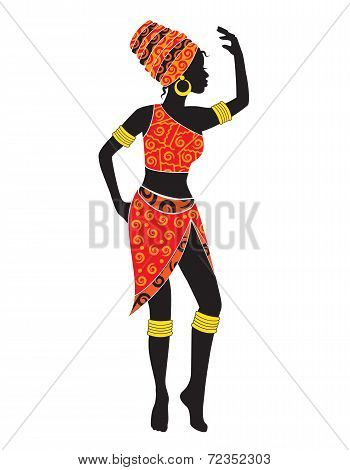 silhouette of dancing African woman