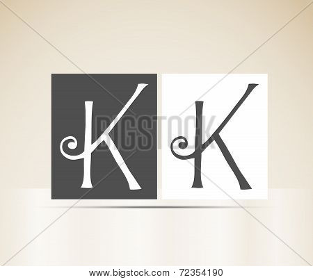 Retro alphabet letter K art deco vintage design