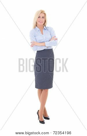 Young Beautiful Woman In Business Suit Isolated On White