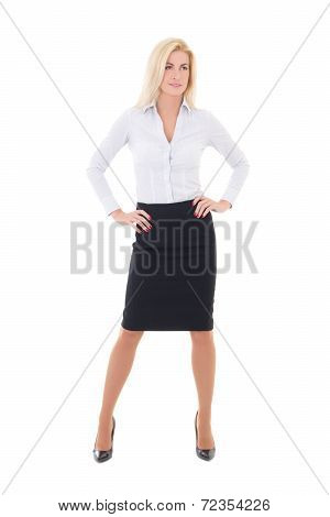 Young Beautiful Business Woman Posing Isolated On White