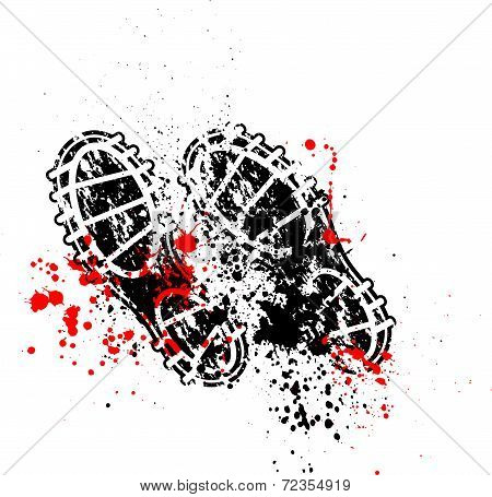 Shoes print ink blots