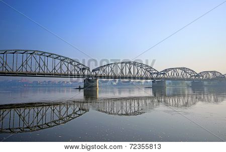 famous truss bridge over Vistula river