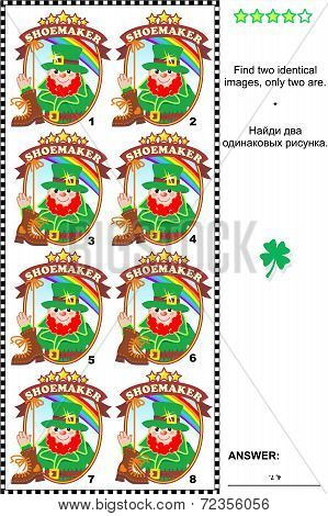 Visual puzzle - find two identical badges with leprechaun the shoemaker
