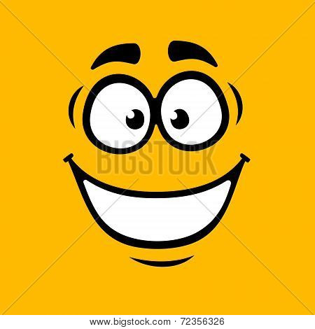 Cartoom Smile on Orange Background. Vector