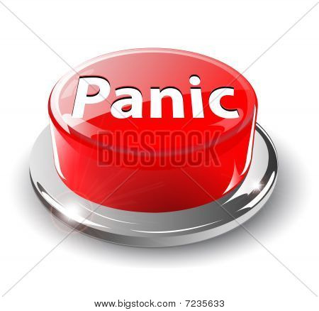 Panic button, 3d red vector.