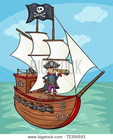 Pirate On Ship Cartoon Illustration
