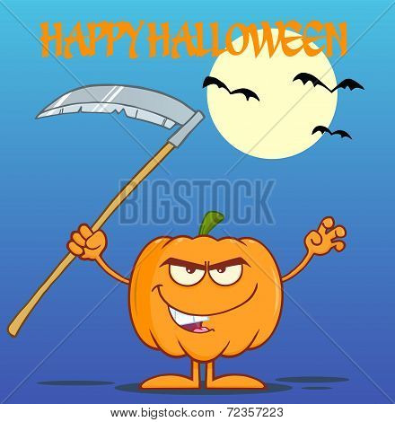 Scaring Halloween Pumpkin With A Scythe Greeting Card