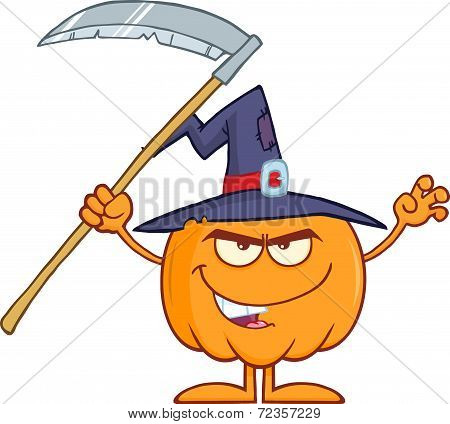 Scaring Halloween Pumpkin With A Witch Hat And Scythe