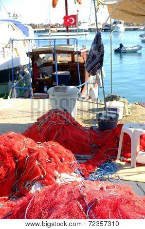 Fishing nets on pier