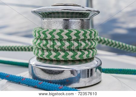 Sail Yacht - Close Up On Winch And Green Rope