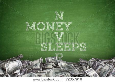 Money never sleeps on blackboard background