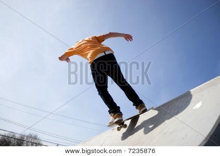 Skateboarder On A Ramp