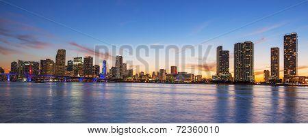 Panoramic View Of Miami At Sunset