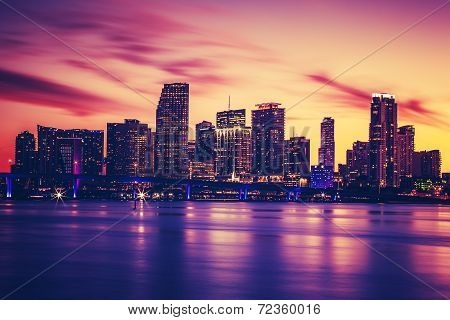 View Of Miami At Sunset, Special Photographic Processing