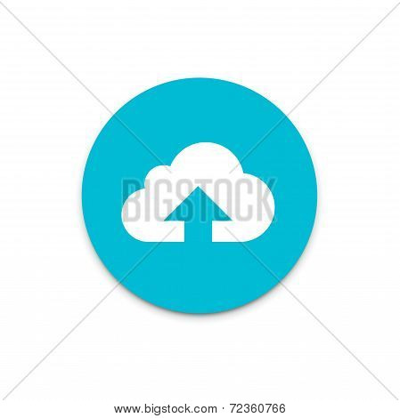 Upload data to internet cloud flat icon on colorful floating ui action button.